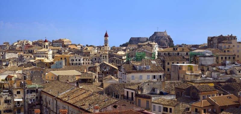 Panorama de la ciudad de Corfú fotografía de archivo
