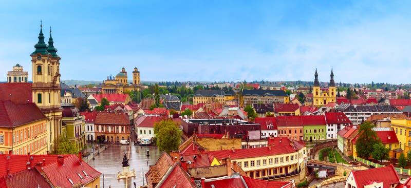 Panorama de la ciudad de Eger fotos de archivo