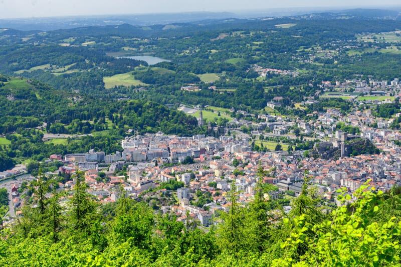 Panorama de la ciudad de Lourdes imagen de archivo
