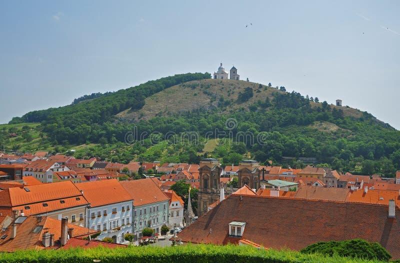 Panorama de la ciudad de Mikulov foto de archivo libre de regalías