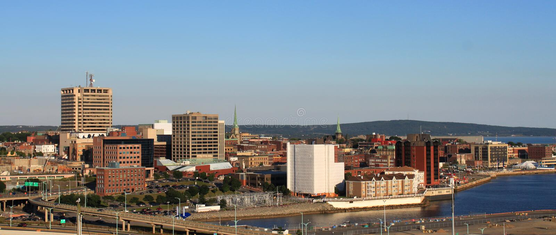 Panorama de la ciudad de San Juan, Nuevo Brunswick imagen de archivo libre de regalías