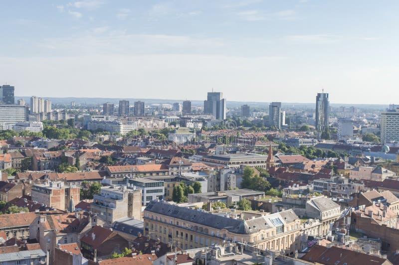 Panorama de la ciudad Ciudad del capitol de Zagreb de Croacia fotos de archivo