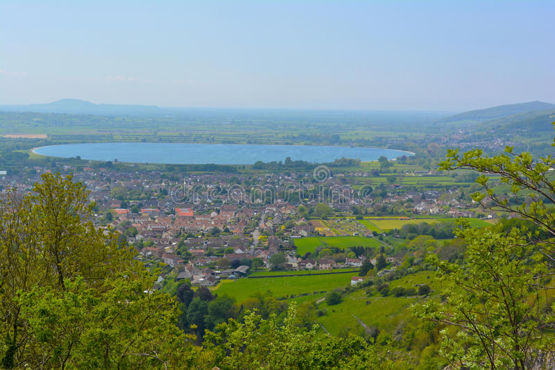 Panorama de la ciudad del Cheddar fotografía de archivo