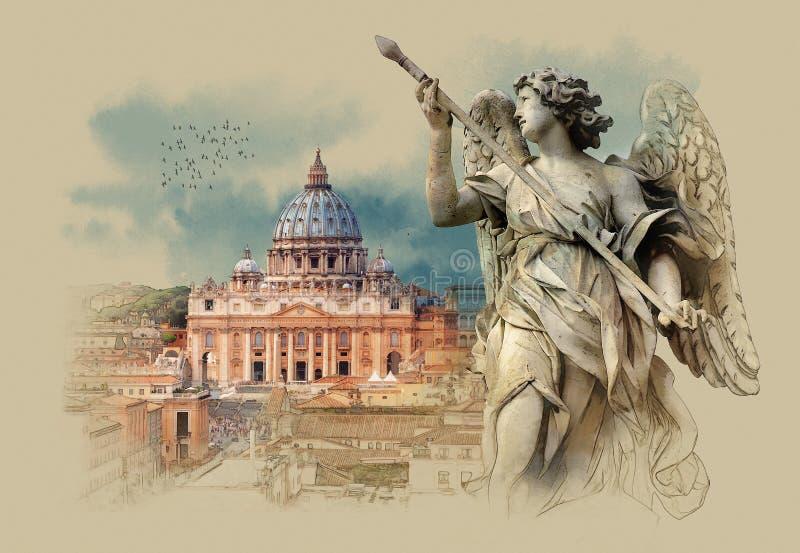 Panorama de la Ciudad del Vaticano La basílica de San Pedro Visión desde Castel Sant ' Ángel Bosquejo de la acuarela, sepia stock de ilustración