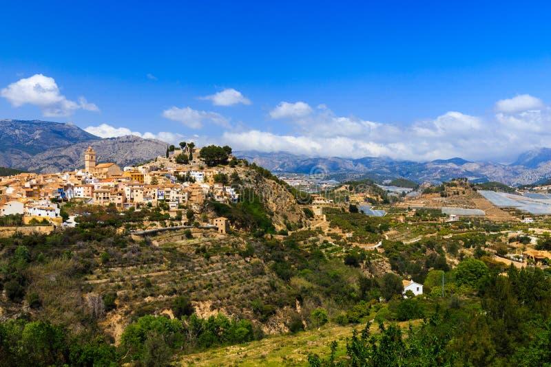 Panorama de la ciudad española de Polop fotografía de archivo