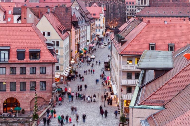Panorama de la ciudad histórica de Nuremberg foto de archivo