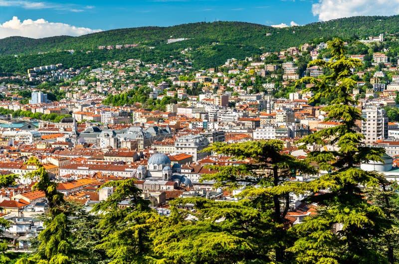 Panorama de la ciudad de Trieste en Italia fotografía de archivo libre de regalías