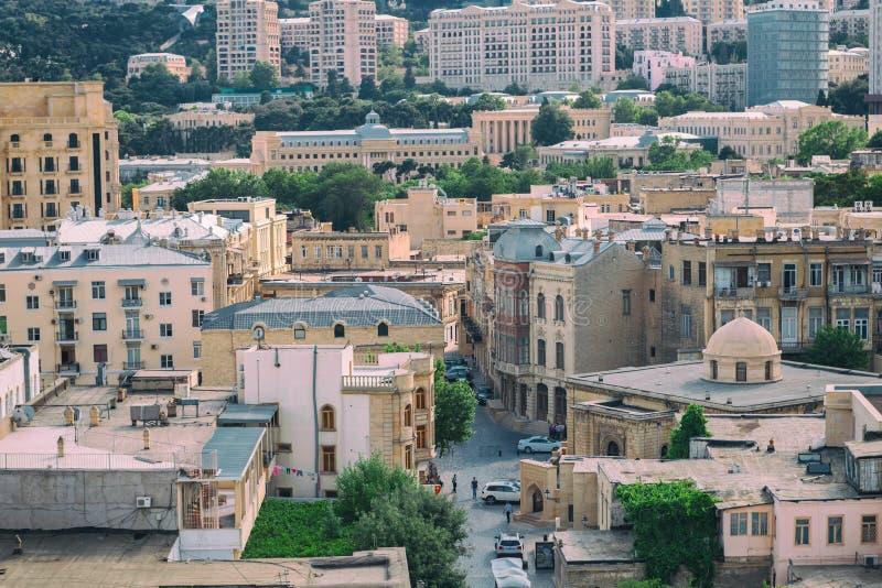 Panorama de la ciudad vieja de Baku, Azerbaijan foto de archivo