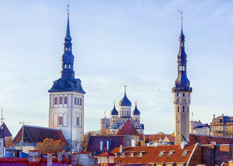 Panorama de la ciudad vieja, Tallinn, Estonia fotos de archivo libres de regalías