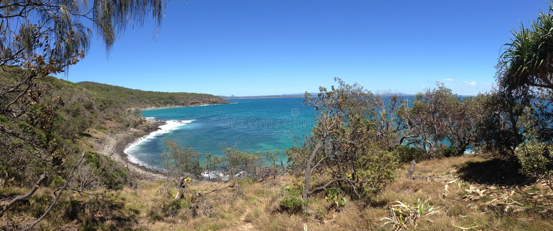 Panorama de la costa del parque nacional de Noosa imagen de archivo libre de regalías