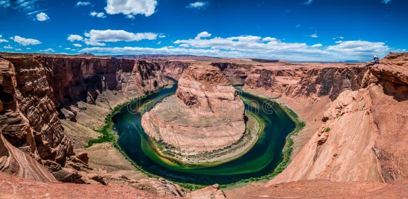 Panorama de la curva de herradura hermosa en Arizona con Photogr imagen de archivo