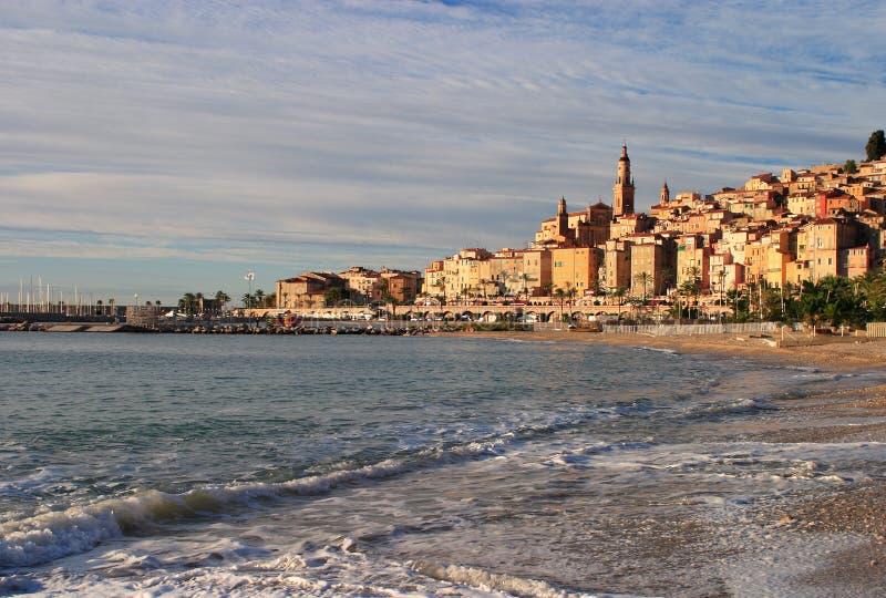 Panorama de la France Cote d'Azur Menton photos stock