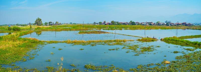 Panorama de la granja del loto, Inpawkhon, lago Inle, Myanmar imágenes de archivo libres de regalías