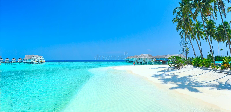 Panorama de la isla de Maldives imágenes de archivo libres de regalías