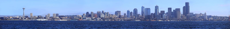 Panorama de la línea de costa de Seattle. imágenes de archivo libres de regalías