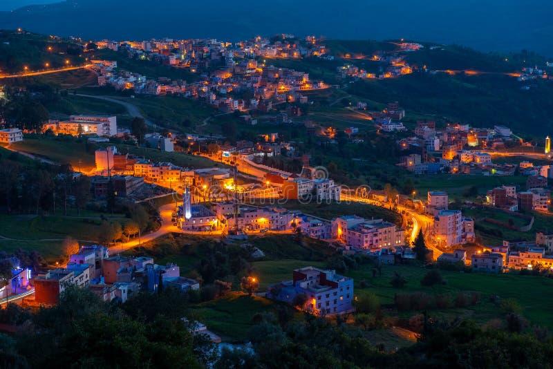 Panorama de la Médina bleue de la ville de Chefchaouen images libres de droits