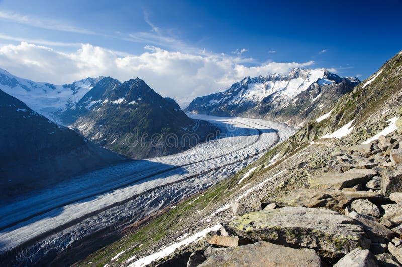 Panorama de la montaña del glaciar de Aletsch fotografía de archivo