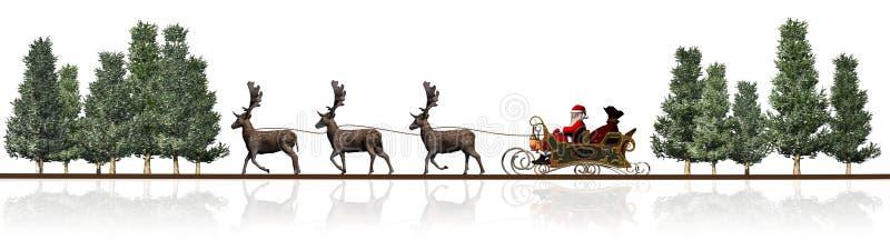 Panorama de la Navidad - trineo de Santa Claus, rendeers, árboles ilustración del vector
