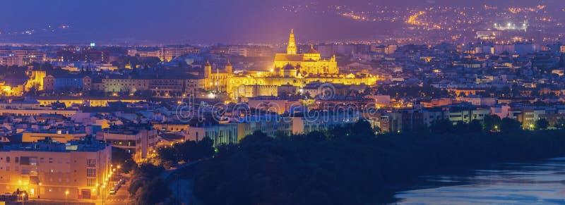 Panorama de la noche de Córdoba con la catedral de la mezquita fotos de archivo libres de regalías