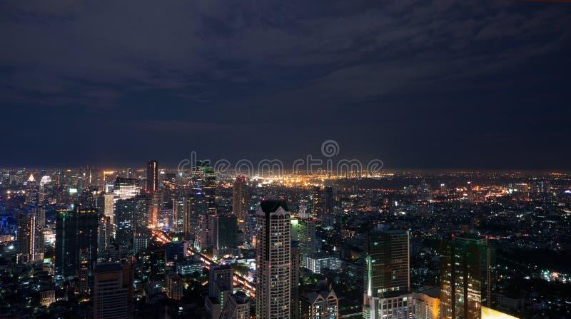 Panorama de la noche de Bangkok fotos de archivo libres de regalías