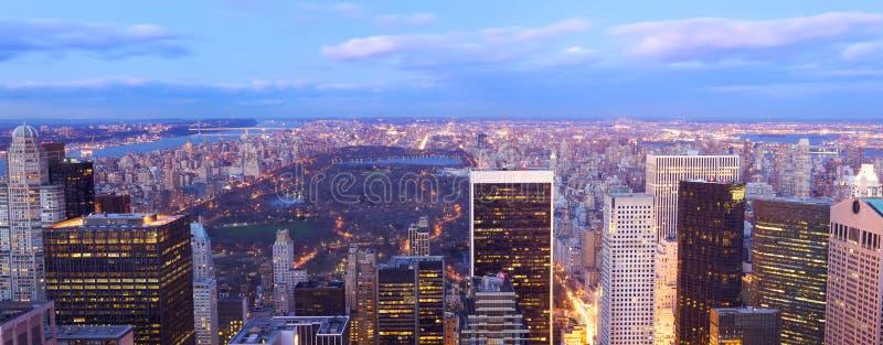 Panorama de la opinión aérea de Central Park imagen de archivo