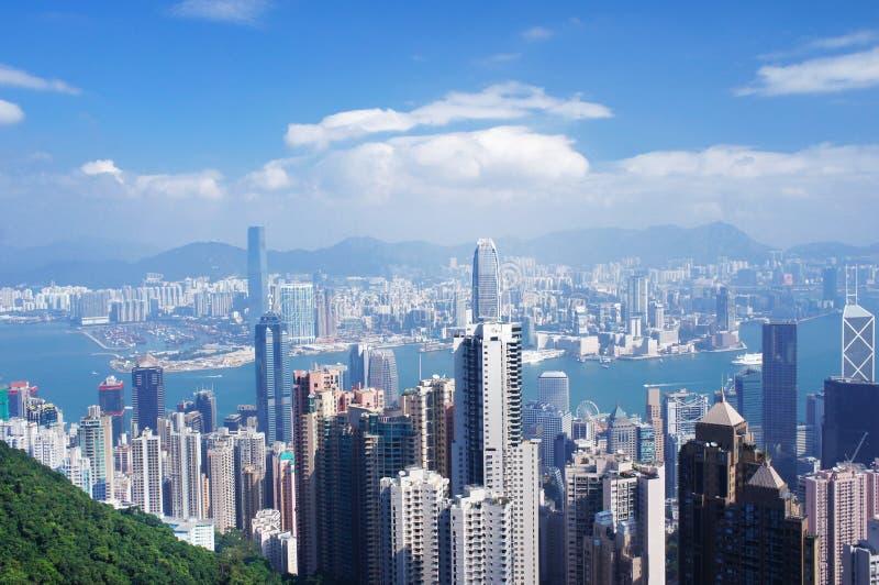 Panorama de la opinión aérea de Hong Kong imagen de archivo libre de regalías