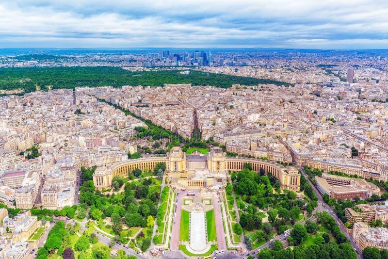 Panorama de la opinión de París de la torre Eiffel Vista del Trocad fotos de archivo libres de regalías