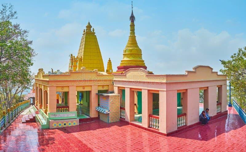 Panorama de la pagoda du site d'U Min Thonze Caves, Sagaing photographie stock libre de droits