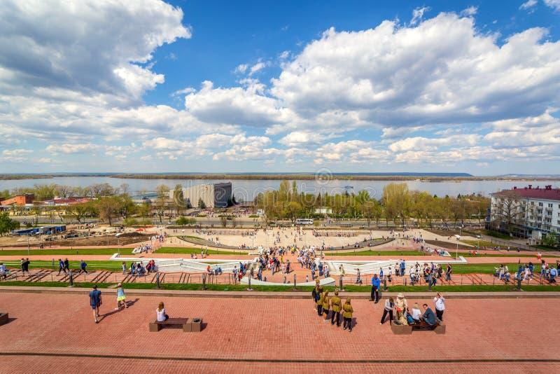 Panorama de la perspectiva de Volga y de Volzhsky de Glory Square foto de archivo libre de regalías