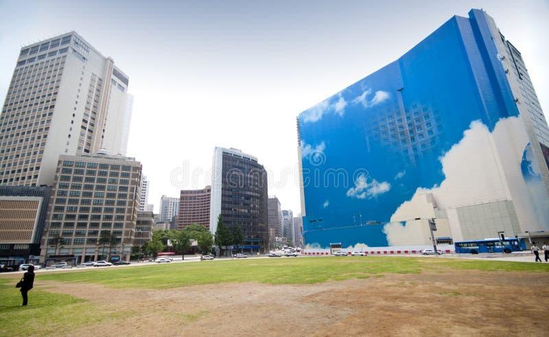 Panorama de la plaza de Seul fotos de archivo