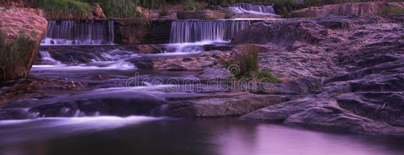 Panorama de la puesta del sol de la cascada fotografía de archivo libre de regalías