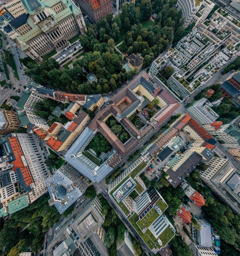 Panorama de la realidad virtual del vr del abejón 360 del aire de la ciudad de Munich imagenes de archivo