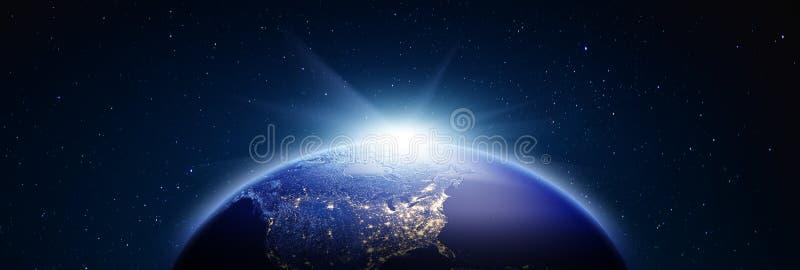 Panorama de la salida del sol de América representación 3d imagen de archivo libre de regalías