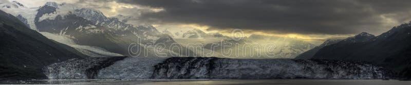 Panorama de la salida del sol del glaciar de Harvard imágenes de archivo libres de regalías