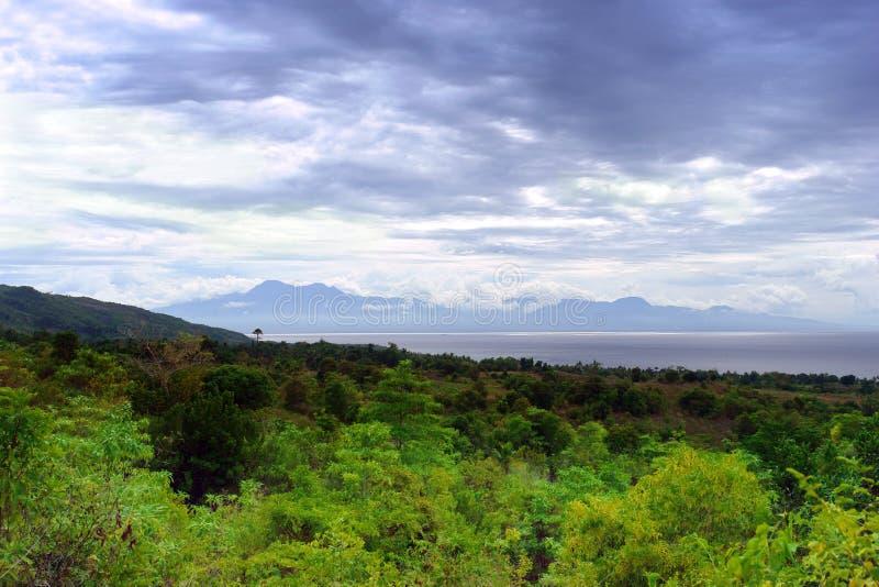 Panorama de la selva en el estrecho tropical del mar fotografía de archivo