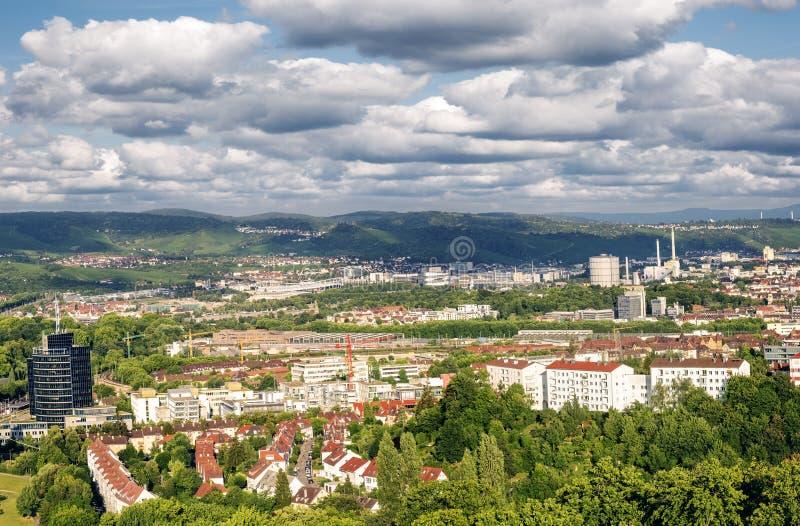 Panorama de la torre de Stuttgart Killesberg fotografía de archivo