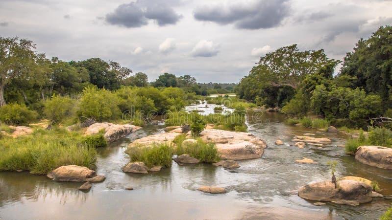 Panorama de la travesía de río de Sabie Kruger fotos de archivo libres de regalías