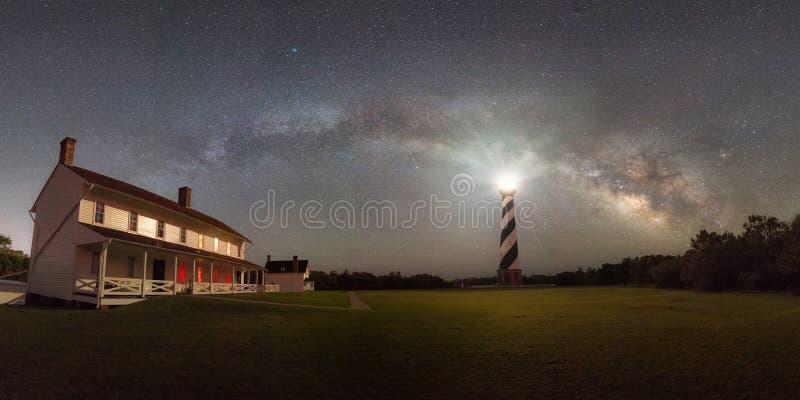 Panorama de la vía láctea de la luz de Hatteras del cabo fotos de archivo libres de regalías