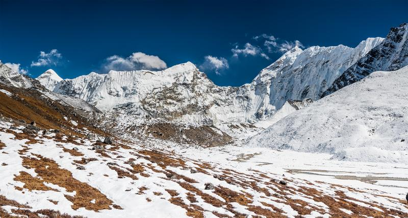 Panorama de la vallée de Khumbu au Népal image stock