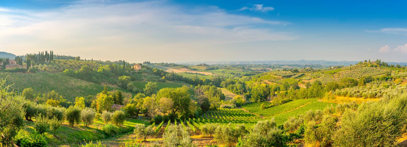 Panorama de la vallée toscane au coucher du soleil, beaucoup de villas d'invité sur les collines photos stock