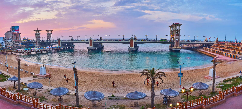 Panorama de la vecindad de Stanley, Alexandría, Egipto imágenes de archivo libres de regalías