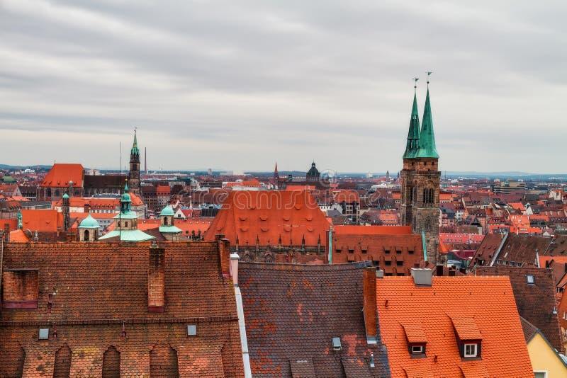 Panorama de la ville historique de Nuremberg image libre de droits