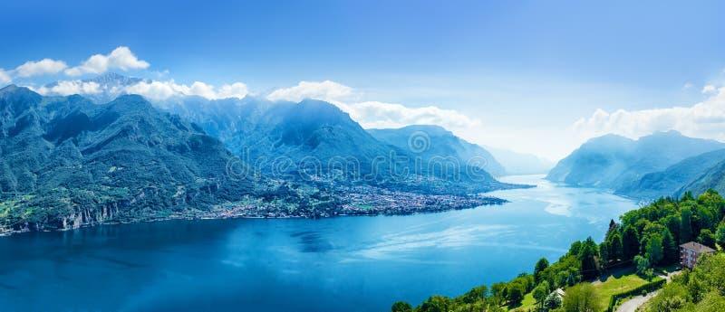 Panorama de lac Como, Lombardie, Italie images libres de droits