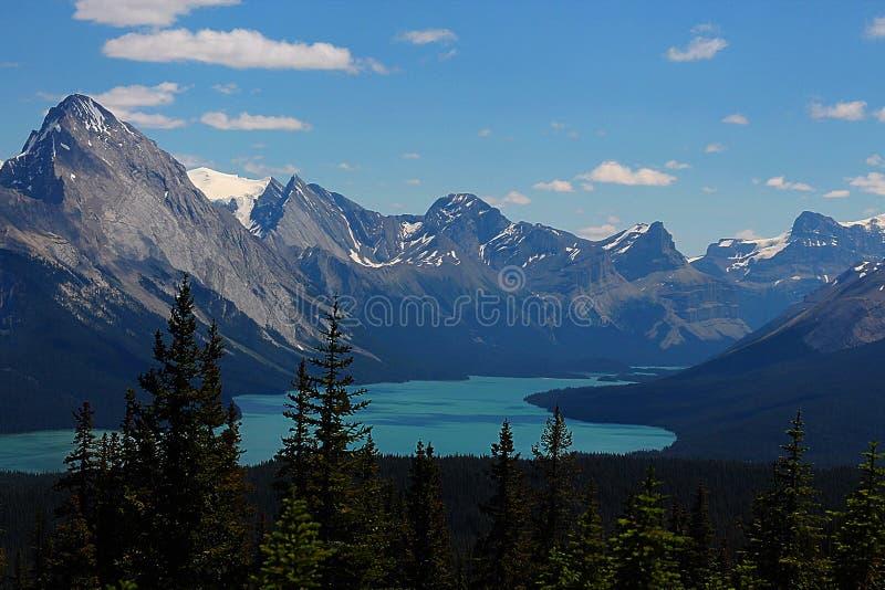 Panorama de lac Maligne photo stock