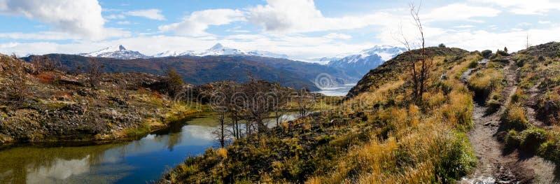 Panorama de lac sur Torres del Paine Hike dans le Patagonia du ` s du Chili image stock