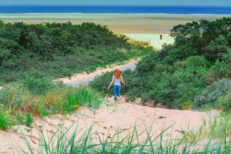 Panorama de las dunas en la costa de Mar del Norte en Holanda imagen de archivo