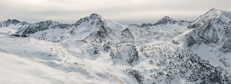 Panorama de las montañas de Pyrenees fotografía de archivo libre de regalías
