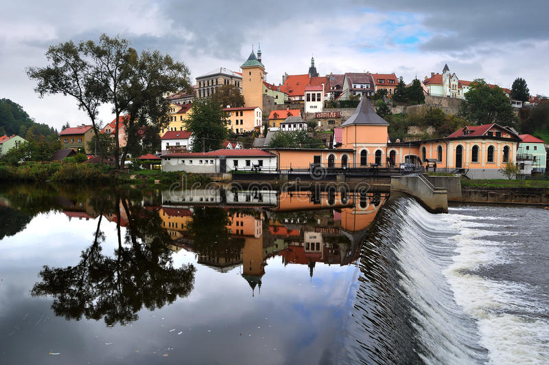 Panorama de Loket. République Tchèque photo stock