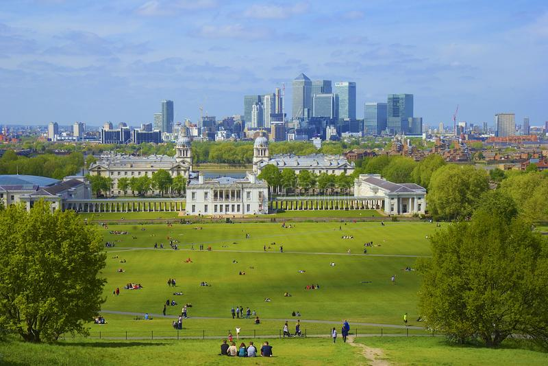 Panorama de Londres de Greenwich fotos de stock