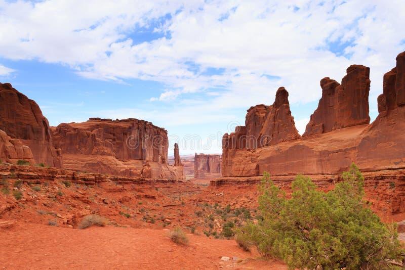 Panorama de los arcos parque nacional, Utah EE.UU. fotos de archivo